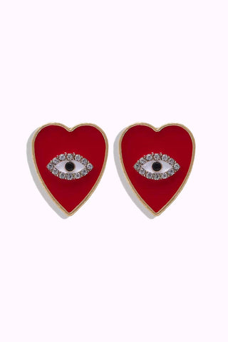 Red Heart Eye Earrings