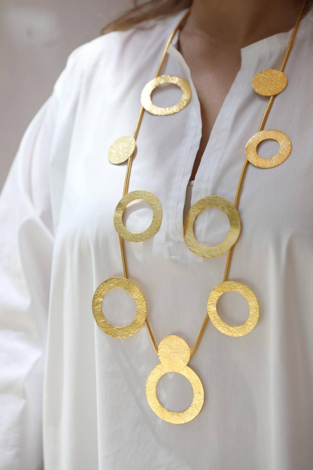 Circle Gold Long Necklace