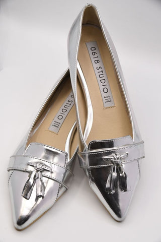 Silver Patent Loafers