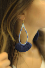 Bliss Blue & Beige Earrings