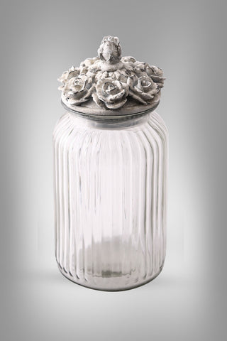 Jar with floral top ( set of 2)