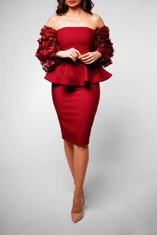 Maroon Peplum Top and Skirt