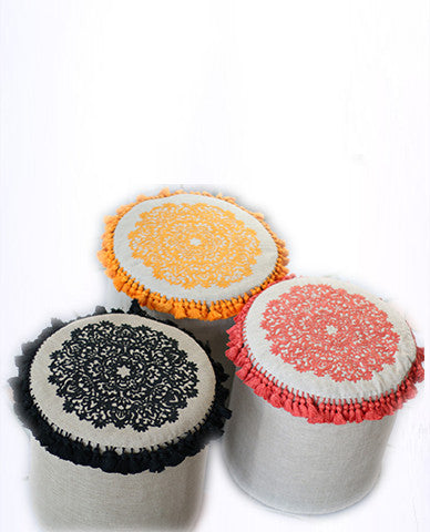 Black Cylinder Stool With Handmade Embroidery