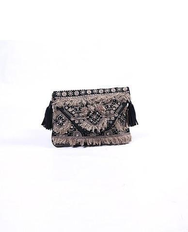 Black and Beige Moroccan Clutch