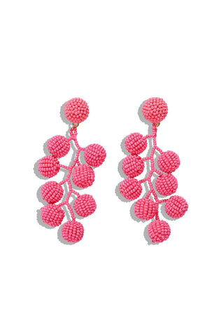 Pink Dangle Beaded Earrings