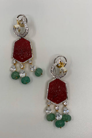 Red Stone Indian Design Earrings