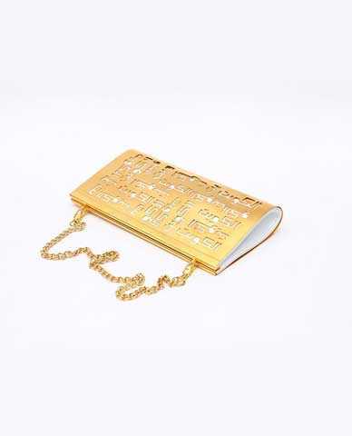 Customized Lebanon Clutch Gold & White