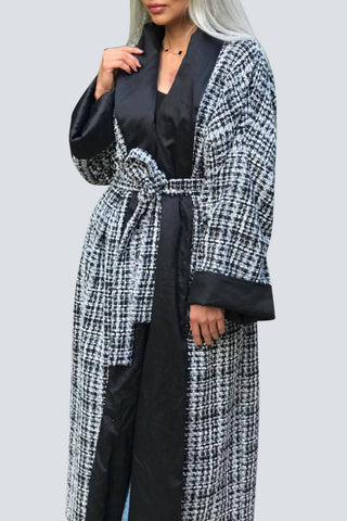 Black & White Tweed Bisht