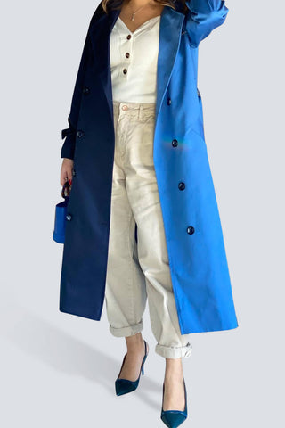 Half Half Blue Trench Coat
