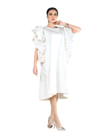 ROZE - White Butterfly Dress - short