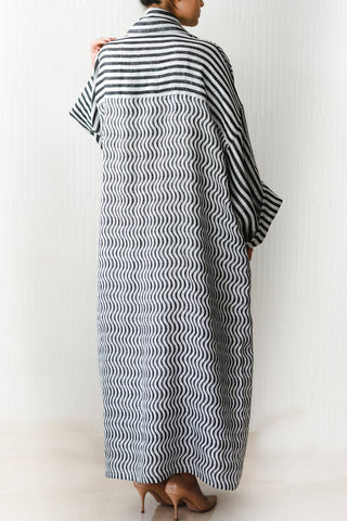 Stripes & Waves Soft Linen Bisht