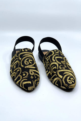 Black / Gold Embroidery Mules ( Kids & Adults )