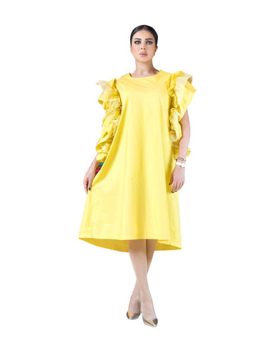ROZE - Yellow Butterfly dress - short