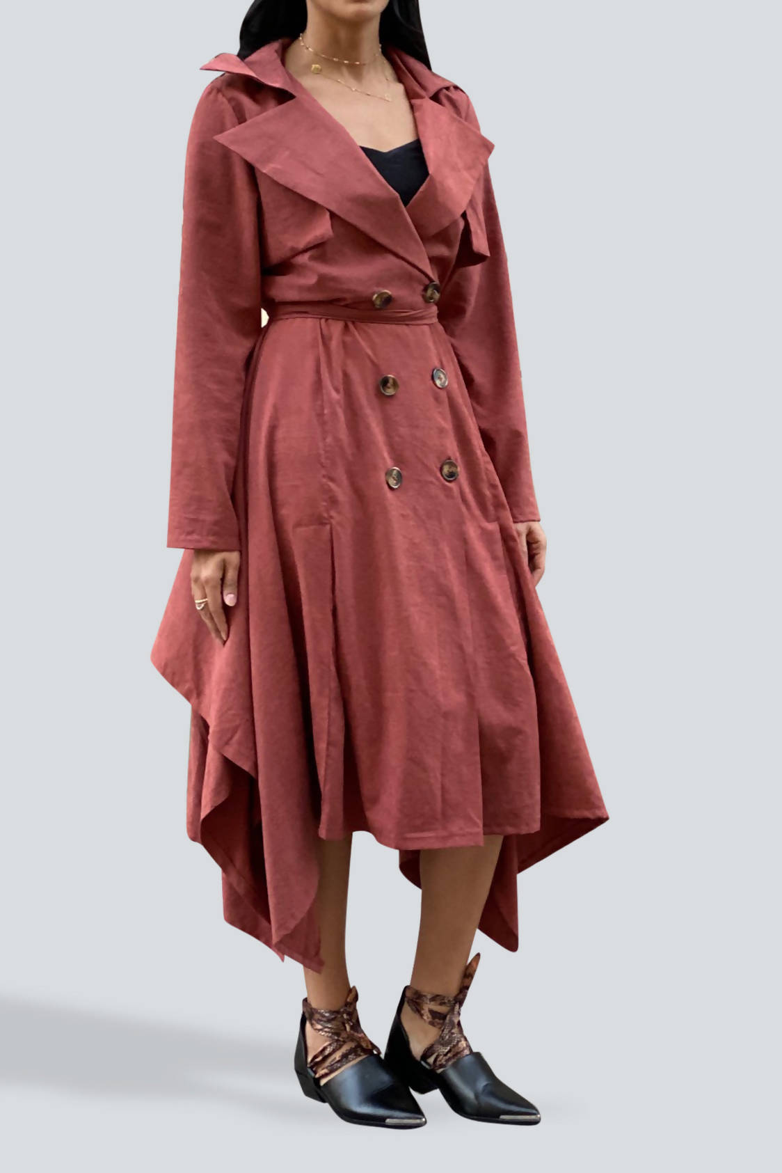Unbalance Hem Trench Dress