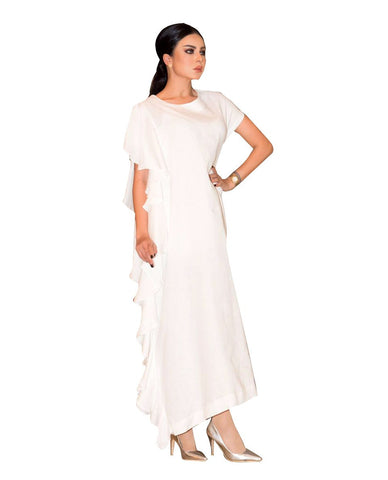 ROZE - Side Wave Dress - White