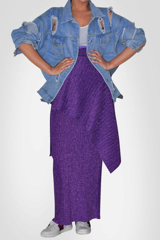 Purple Pencil Skirt-With/Without Waist Belt