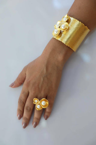 Gold Pearl Bracelet and Ring Set
