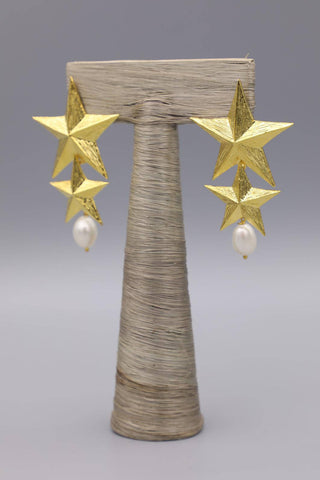 Gold Double Stars Earrings