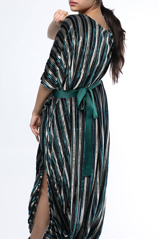 Green Stripes Velvet Dress