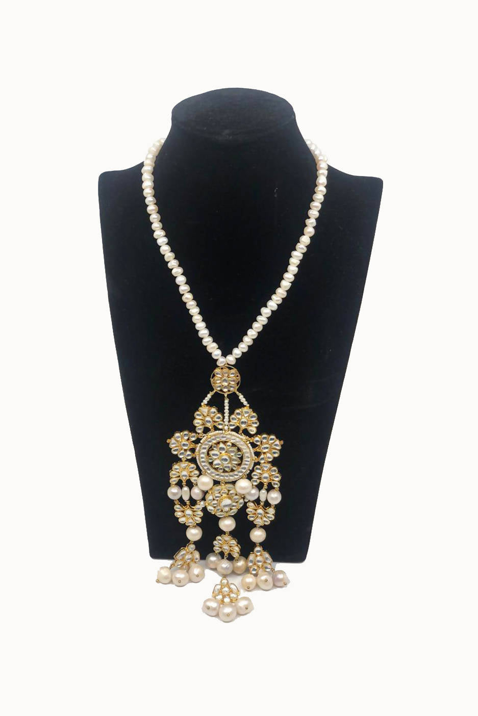 Golden Indian Design Necklace with Pearls