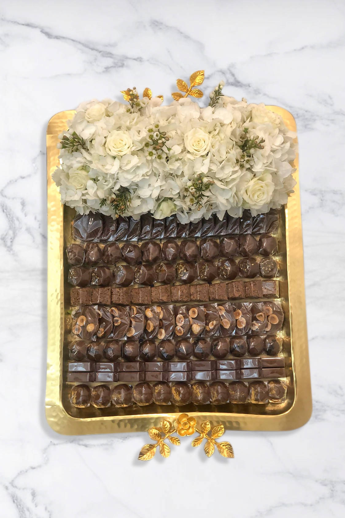 Golden Tray With Flowers & Chocolates