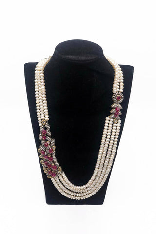 White Pearl Necklace with Red Embellishments