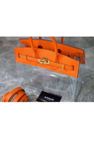 Orange 25 cm Clear Bag