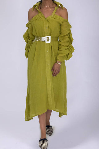 Green Ruffled Kaftan