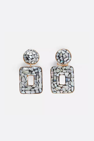 Square Metal Silver Earrings