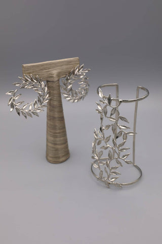 Silver Leaves Cuff and Earrings Set