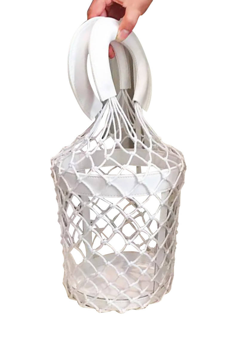 White Transparent Bucket Bag