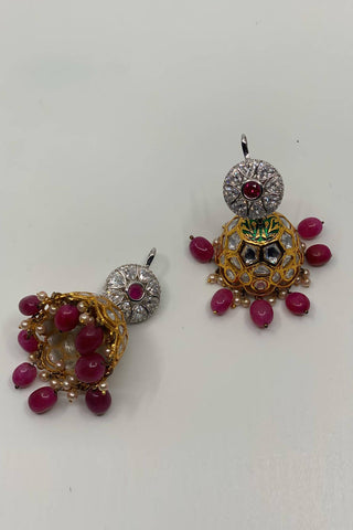 Gold and Silver Jumka Earrings