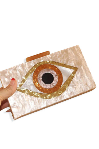 Nude Evil Eye Clutch