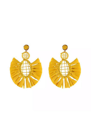 Yellow Straw Earrings