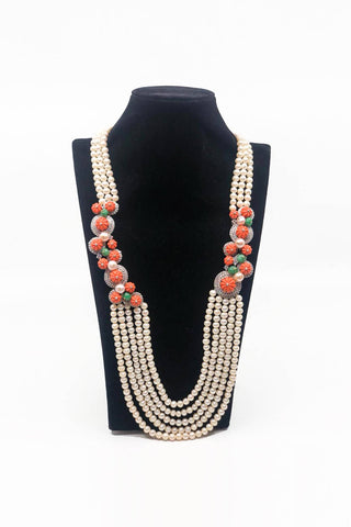 Coral Pearl 5 Row Necklace