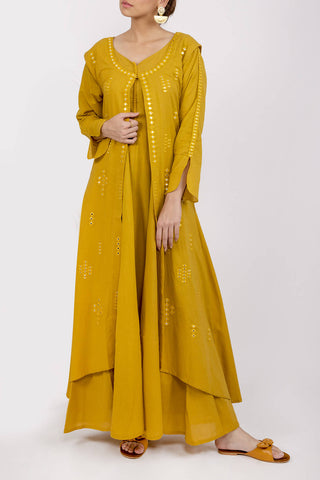Embroidered Mustard 2 Piece Dress