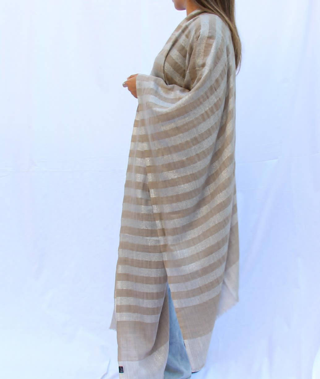 Silver Stripes Cashmere Shawl