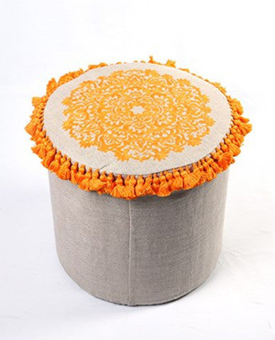 Yellow Cylinder Stool With  Handmade Embroidery