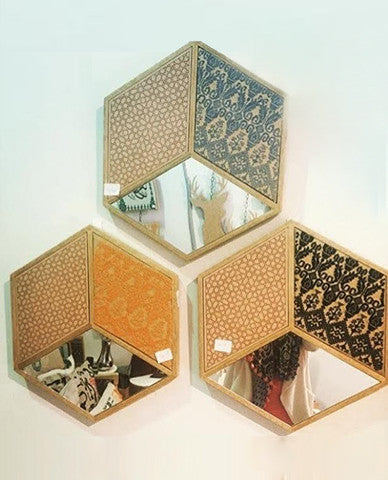 Yellow Hexagonal Mirror With Embroidery