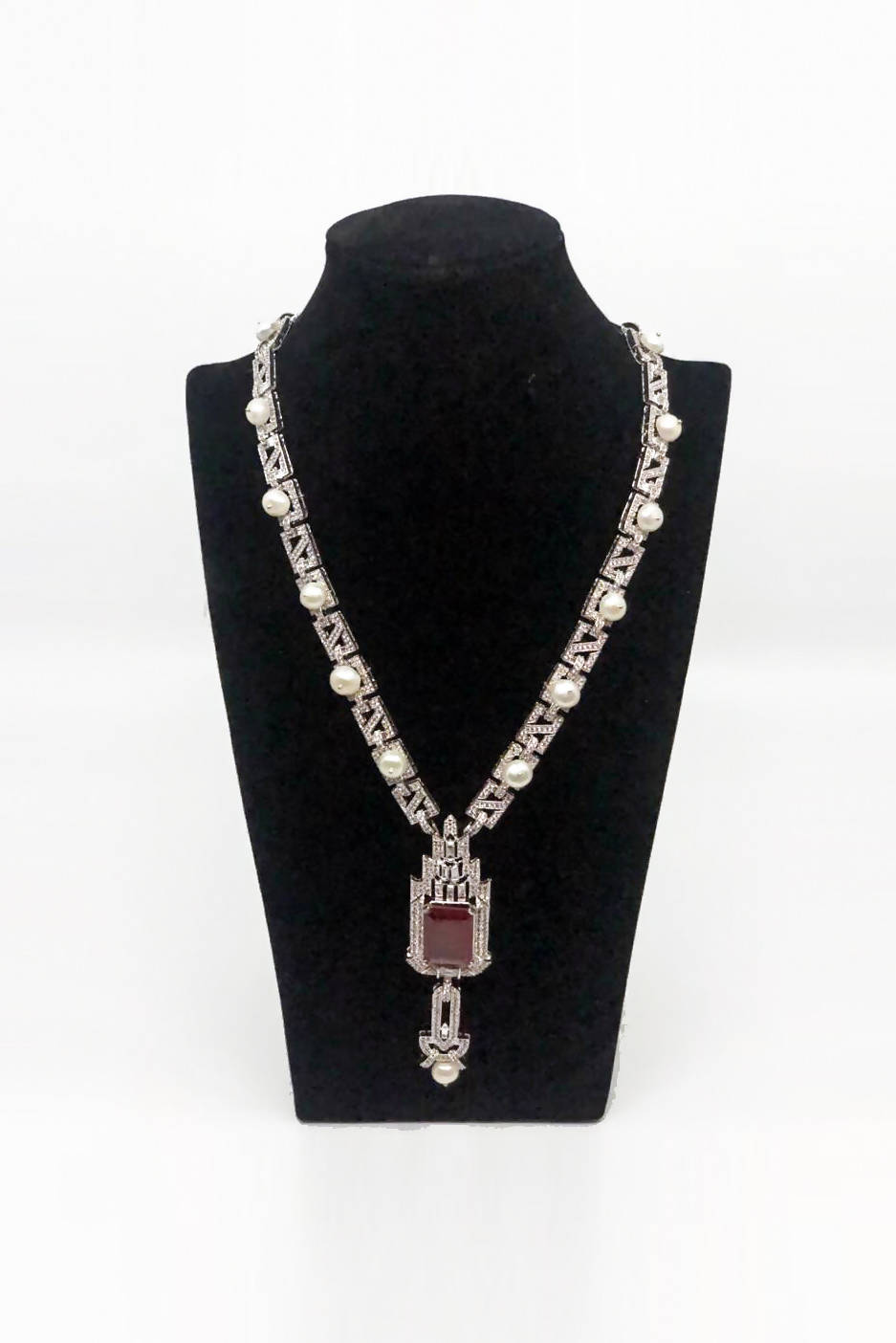 Red Square Stone Necklace