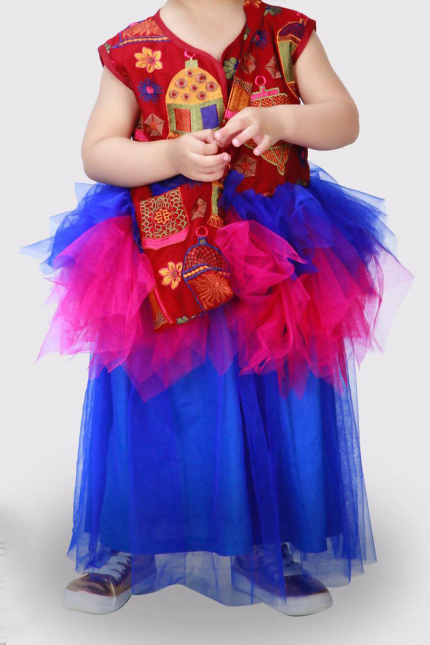 Tulle and Embroidery Girls Kaftan