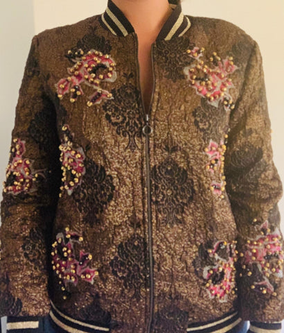 Beaded Floral Bomber Jacket