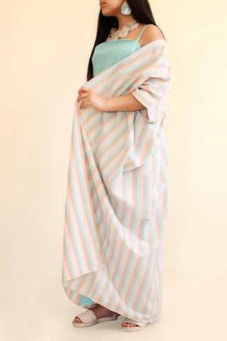 Stripes Bisht with Dress