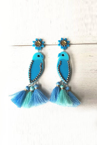 Exaggerated Blue Bird Earrings