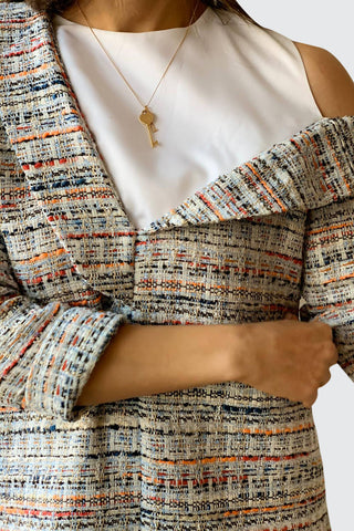 Off Shoulder Tweed Top