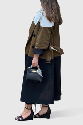 Tri Color Trench Coat