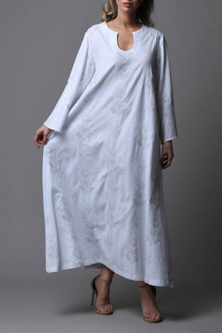 Off White Printed Kaftan