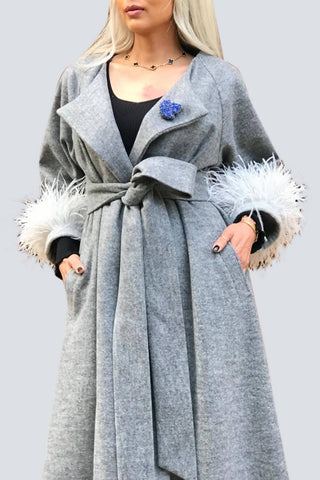 Light Grey Feathers Coat