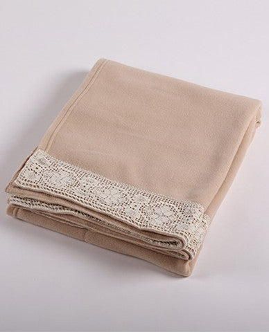 Beige throw blanket
