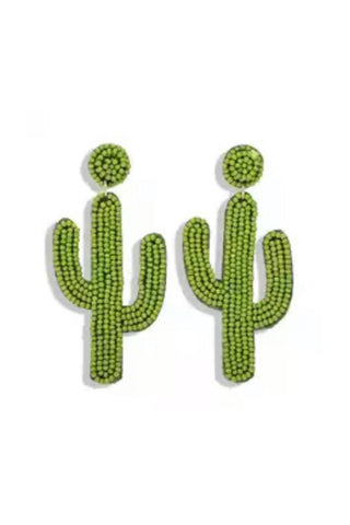 Green Cactus Earrings